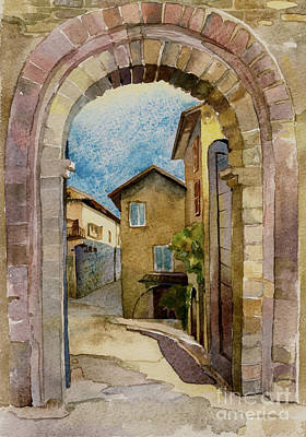 Tourist Attraction Drawing - stone gate in Assisi Italy by Natalia Sinelnik