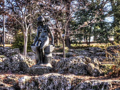 Owl Photograph - Stone Girl In Winter Hdr by John Straton