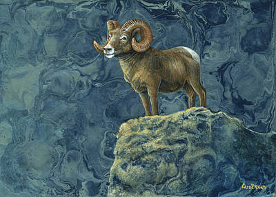 Rocky Mountain Sheep Painting - Stone Guardian by Cara Bevan