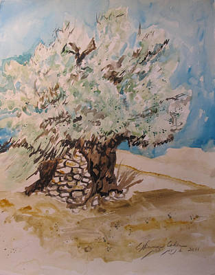 Painting - Stone Held Tree by Esther Newman-Cohen