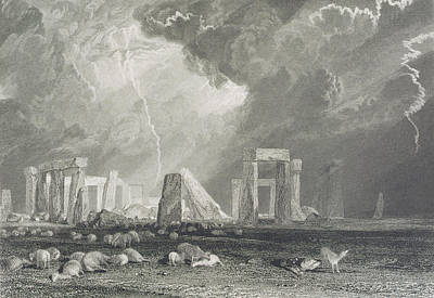 Landmarks Drawing - Stone Henge by Joseph Mallord William Turner