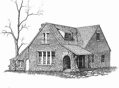 Old House Drawing - Stone House Pen And Ink by Renee Forth-Fukumoto