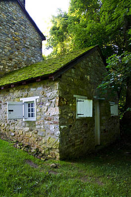 Stone House With Mossy Roof Art Print by Bill Cannon