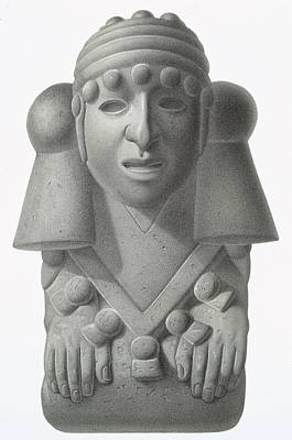 Rain Drawing - Stone Idol Of The Rain God Cocijo by Johann Friedrich Maximilian von Waldeck