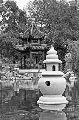 Chinese Red Maple Tree Photograph - Stone Lantern - Chinese Garden And Pagoda In Black And White. by Jamie Pham