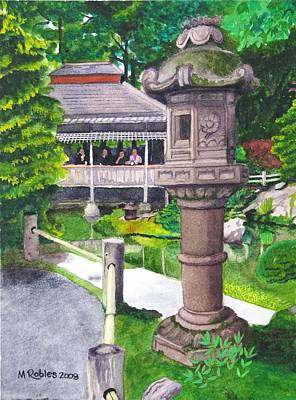 Japanese Tea Garden Painting - Stone Lantern by Mike Robles