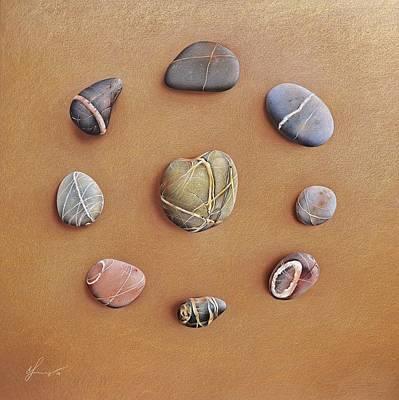 Drawing - Stone Letters by Elena Kolotusha