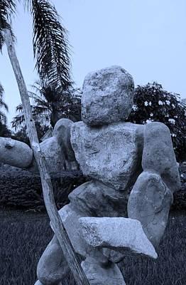 Stone Man On Guard In Cyan Art Print by Rob Hans