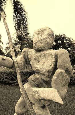 Stone Man On Guard In Sepia Art Print by Rob Hans