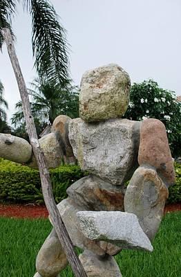 Stone Man On Guard Art Print by Rob Hans