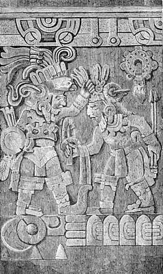 Side Panel Photograph - Stone Of Tizoc, Aztec Sacrificial Stone by British Library