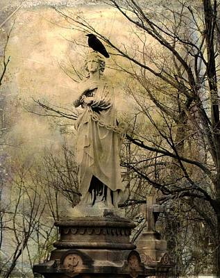 Birds In Graveyard Photograph - Stone Perch by Gothicrow Images