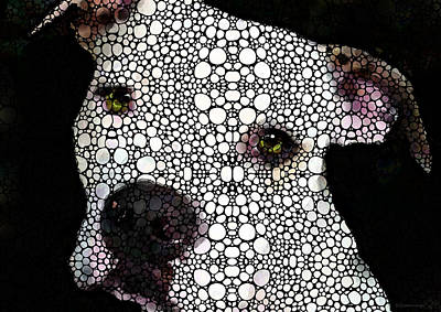 Pitbull Wall Art - Painting - Stone Rock'd Dog By Sharon Cummings by Sharon Cummings
