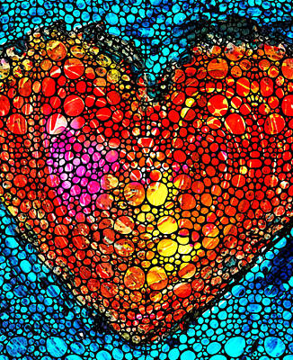 Painting - Stone Rock'd Heart - Colorful Love From Sharon Cummings by Sharon Cummings