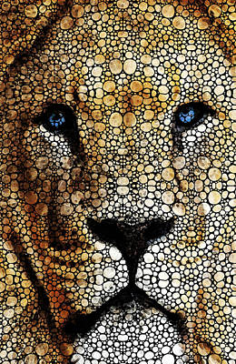 Stone Rock'd Lion 2 - Sharon Cummings Art Print by Sharon Cummings