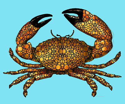 Stone Rock'd Stone Crab By Sharon Cummings Art Print by Sharon Cummings