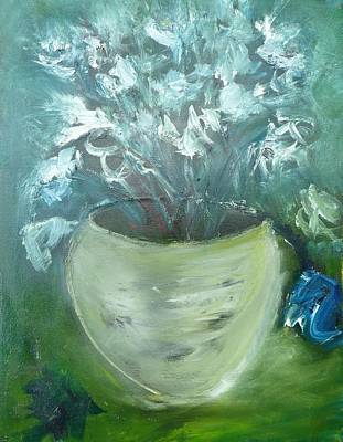 Painting - Stone Vase With Flowers by Mary Feeney