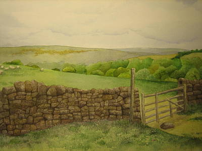 Burren Painting - Stone Wall by Jeff Lucas