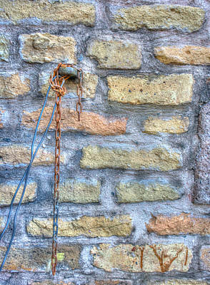 Photograph - Stone Wall With Chain by James Hammond