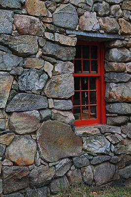 Photograph - Wayside Inn Grist Mill Stone Wall With Red Window by Michael Saunders