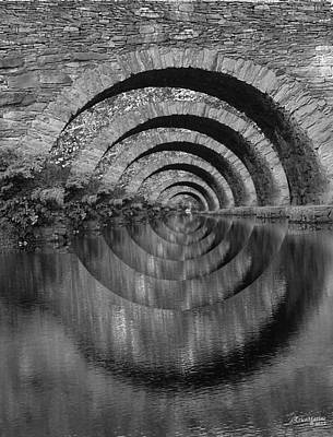 Digital Art - Stonearch Bridge  Black And White by EricaMaxine  Price