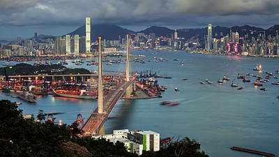 Cityscapes Photograph - Stonecutter Bridge, Hong Kong by William C. Y. Chu