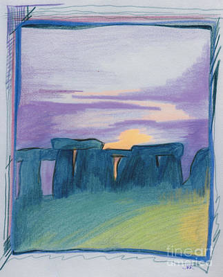 Drawing - Stonehenge Blue By Jrr by First Star Art