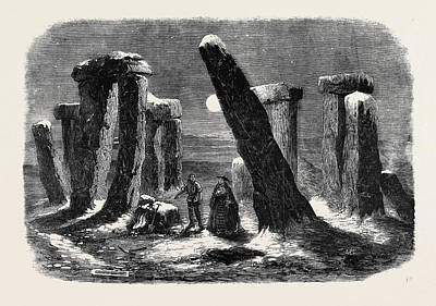 Borgia Drawing - Stonehenge By Moonlight From The New Drama The Borgia Ring by English School
