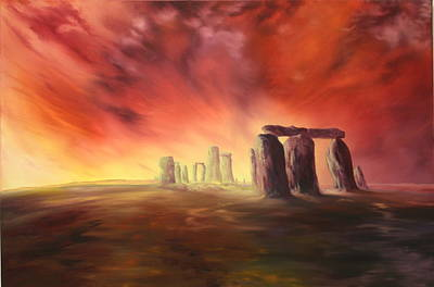 Art Print featuring the painting Stonehenge In Wiltshire by Jean Walker