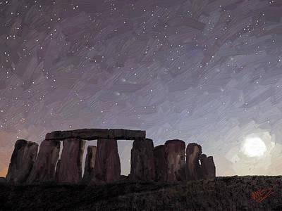 Mountain Valley Painting - Stonehenge by James Shepherd