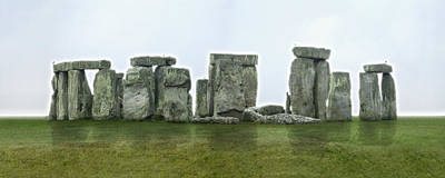 Animals Photos - STONEHENGE Panoramic - England by Mike McGlothlen