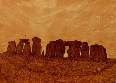 Winter Solstice Painting - Stonehenge Solstice Original Coffee Painting by Georgeta  Blanaru