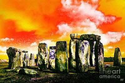 Midsummer Eve Digital Art - Stonehenge Sunset by Neil Finnemore