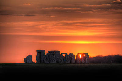Stonehenge Sunset Art Print by Simon West