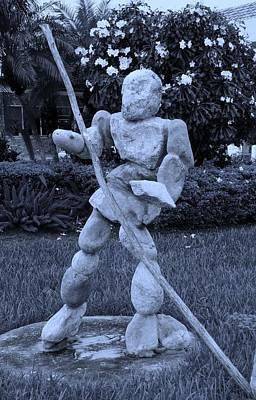 Stoneman In Cyan Art Print by Rob Hans