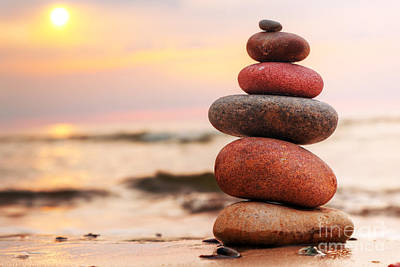 Balance Photograph - Stones Pyramid On Sand by Michal Bednarek