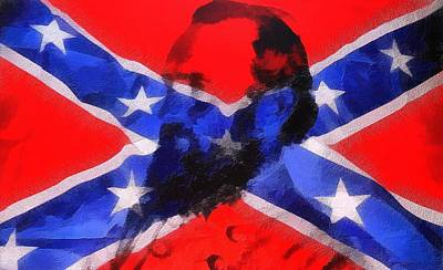 Seven Mixed Media - Stonewall Jackson On Confederate Flag by Dan Sproul