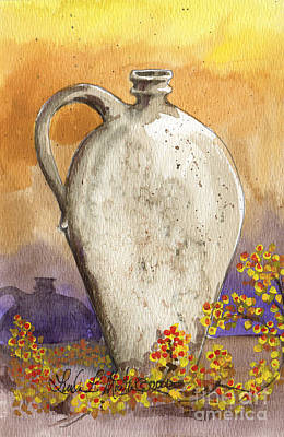 Pottery Painting - Stoneware Jug by Linda L Martin