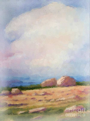 Sea Watercolor Painting - Stony Coast by Lutz Baar