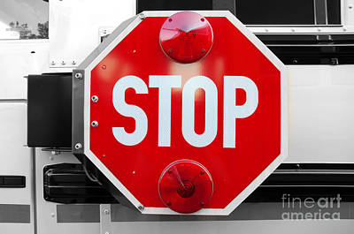 Photograph - Stop Bw Red Sign by Andee Design