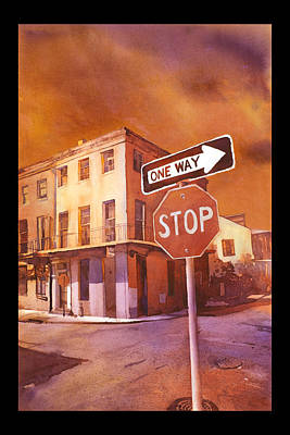 Stop Sign Painting - Stop- French Quarter Ahead by Ryan Fox