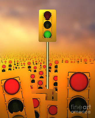Traffic Congestion Photograph - Stop Lights by Mike Agliolo