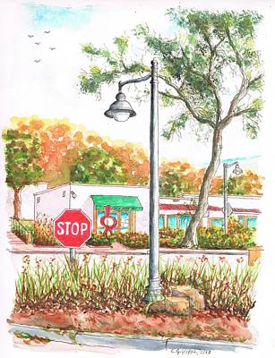 Stop Sign And Street Light In Montecito, California Art Print