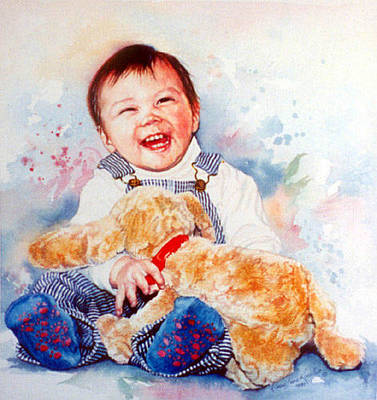 Hand-painted Portraits Painting - Stop Tickling by Hanne Lore Koehler