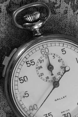 Photograph - Stop Watch 5 Black And White by Mary Bedy