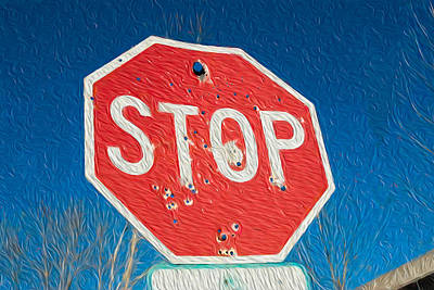 Digital Art - Stop With Bullet Holes. by Alan Sherlock