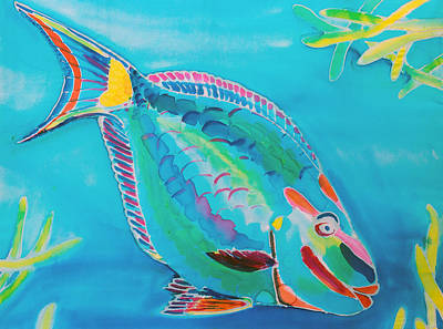 Parrotfish Painting - Stoplight Parrot Fish by Kelly     ZumBerge