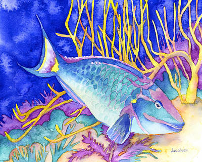 Parrotfish Painting - Stoplight Parrotfish by Pauline Jacobson