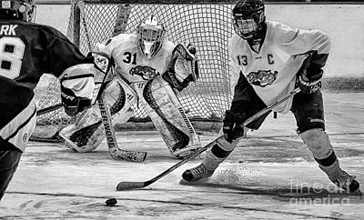 Youth Hockey Photograph - Stopping The Goal by Michael Trahan