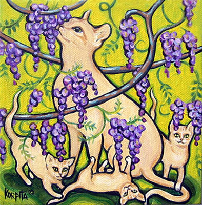 Painting - Stopping To Smell The Wisteria - Cat And Kittens by Rebecca Korpita